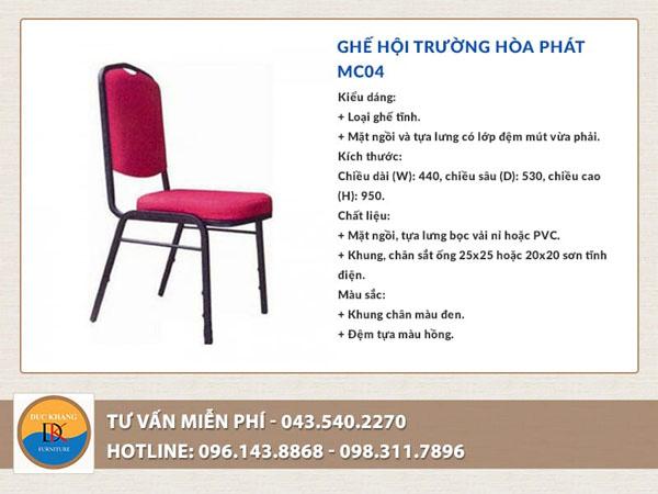 Ghế hội trường Hòa Phát MC04 giá rẻ và nổi bật với màu sắc cuốn hút tạo điểm nhấn