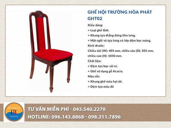 Ghế hội trường Hòa Phát GHT02 nổi bật với đệm ngồi và lưng tựa bọc nỉ màu đỏ tôn thêm vẻ đẹp