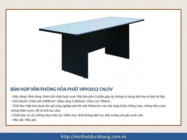 Bàn họp Hòa Phát HPH3612 CN,OV hình chữ nhật màu ghi chì, tinh tế, giá rẻ được nhiều người lựa chọn tại Đức Khang