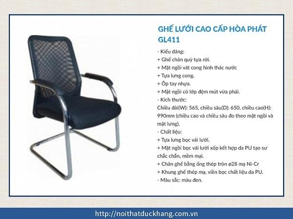 Ghế lưới cao cấp Hòa Phát GL411 chân inox sáng bóng tạo điểm nhấn cho không gian phòng họp