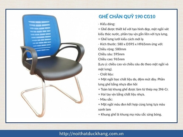 Ghế chân quỳ 190 CG10 khung inox chắc chắn, màu sắc trẻ trung năng động, giảm căng thẳng mệt mỏi cho phòng họp