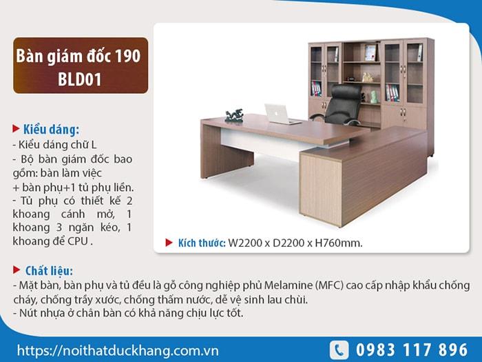Bộ bàn giám đốc 190 BLD01