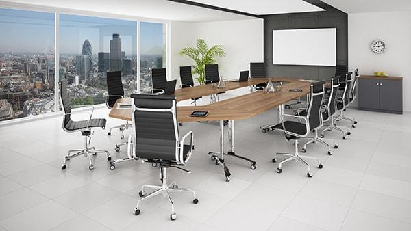 Sự đồng bộ trong việc lựa chọn các thiết bị nội thất giúp phòng họp trở nên tiện nghi hơn