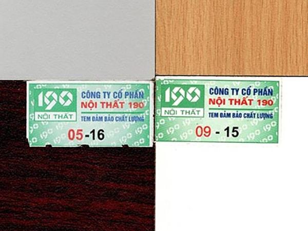 Tem nhãn của ghế hội trường 190 chính hãng