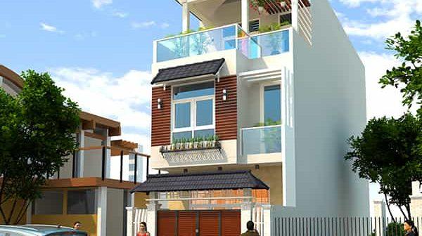 Thiết kế biệt thự phố 3 tầng mặt tiền 7m màu trắng sang trọng